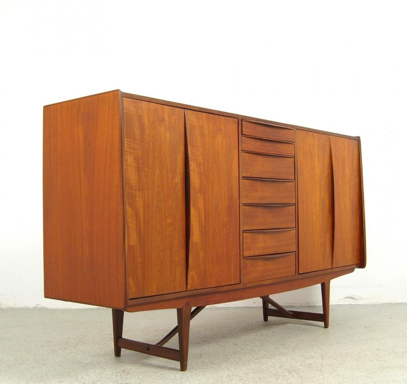 Areaneo Teakwood 60s Highboard Denmark 1960 Mid Century Design with regard to proportions 1600 X 1510
