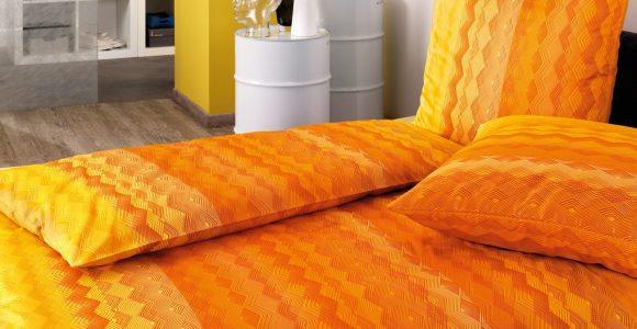 Estella Mako Satin Bettwsche Luigi 135×200 155×220 Cm In Orange throughout proportions 1300 X 1839