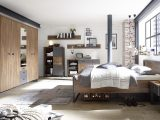Schlafzimmer Industrial Style Bett In 180 X 200 Cm Stirling Oak within proportions 3508 X 1872