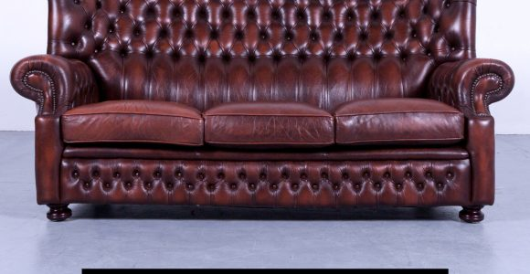 Wunderbar Chesterfield Sofa Braun Mokka Leder Dreisitzer Couch with measurements 2375 X 2375